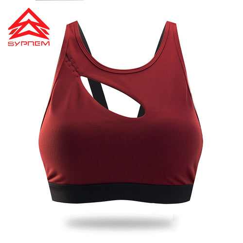 Syprem Sports Bra Sexy Hollow Women Double Shoulder Strap Running Vest Gym sports bra Padded Sport Top Athletic yoga bra,1FT1002