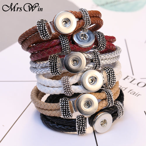 2018 New Braided Leather Snap Button Bracelet fit 18mm Snap Jewelry Handmade 18mm Snap Leather Bracelets