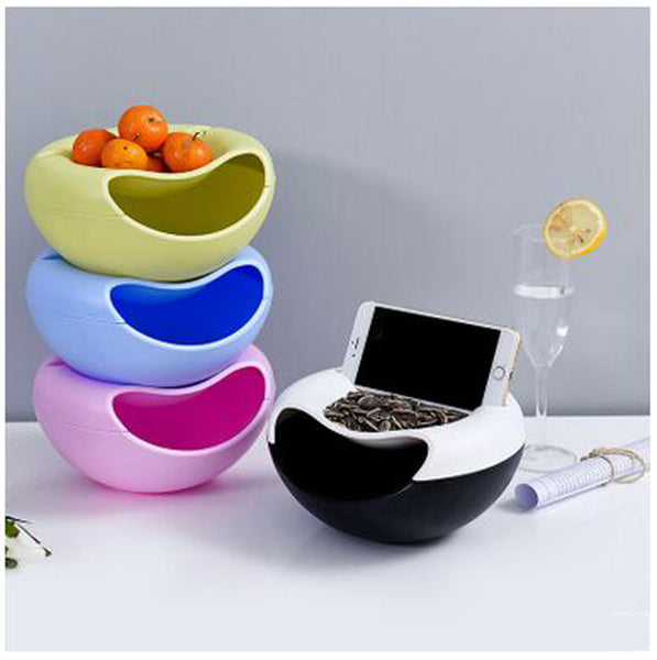 Multifunctional Plastic Double Layer Dry Fruit Containers Snacks Seeds Storage Box Garbage Holder Desktops Plate Dish Organizer