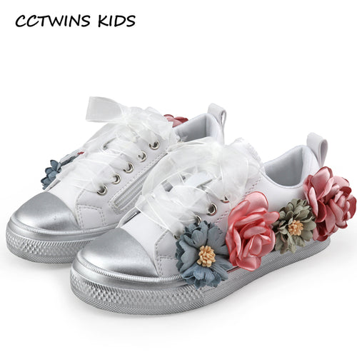 CCTWINS KIDS Pu Leather Princess Lace Up Sneakers