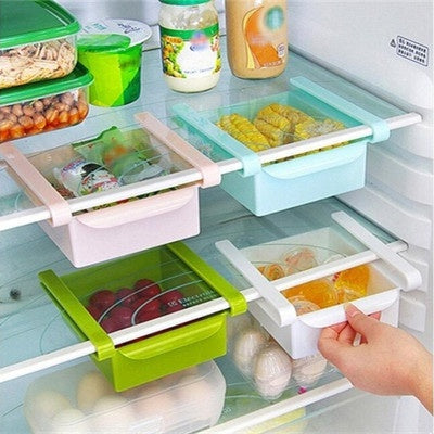 Hot Sale Slide Kitchen Fridge Freezer Space Saver Organizer Storage Rack Shelf Holde Drawer Kitchen Fridge Storage Boxes