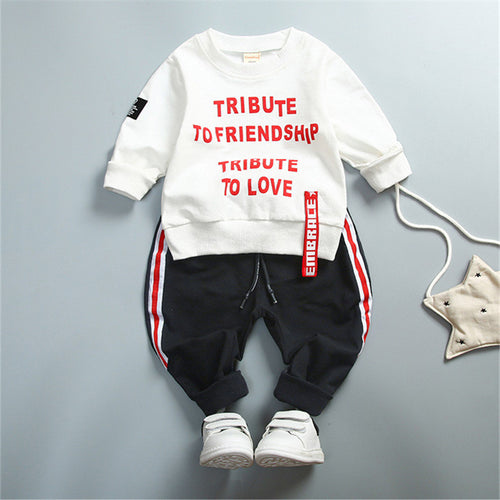 Kids Baby Girl Boys Causal Clothing Set Letter Long Sleeve Autumn Spring Children's Sports Suit 1 2 3 4 Years Children Clothes