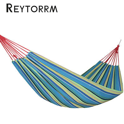 Hanging Sleeping Canvas Hammock Rainbow Garden Hamac 1-2 Person Cotton Outdoor Hamak Bed Furniture With 2 Ropes