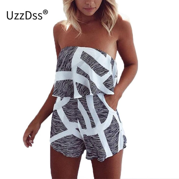 Sexy Floral Printed, Off Shoulder Female Jumpsuit