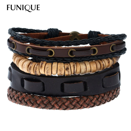 FUNUQE Vintage Style DIY Handmade Braided Leather Bracelet for Women Men Punk Multilayer Beads Bracelet pulseira masculina