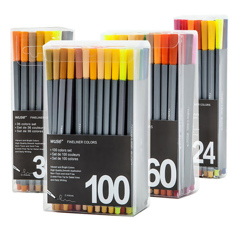 0.4mm Fine Tip Markers 24/36/60/100 PKS - Bright Colors