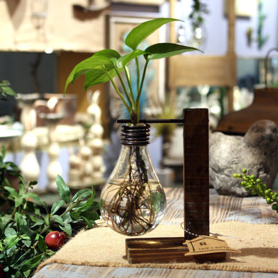 New Creative Vintage Style Glass Tabletop Plant Bonsai Flower  Vase With Wooden L/T Shape Tray Home Wedding Decoration