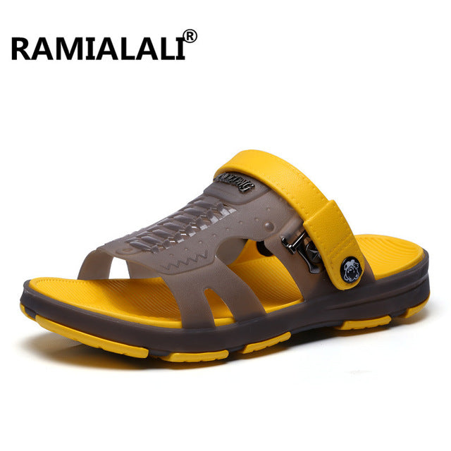 800ad2f7181b Ramialali Men Fashion Sandals Summer Men s Slippers Shoes Beach Casual  Breathable Home Slippers Men Shoes Flip