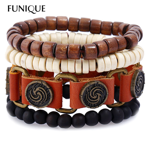 4Pcs/set Wood Bead Leather Watch Belt Bracelet Women Men Wrap Bracelets & Bangles Punk Multilayer Nature Stone Bracelet Jewelry