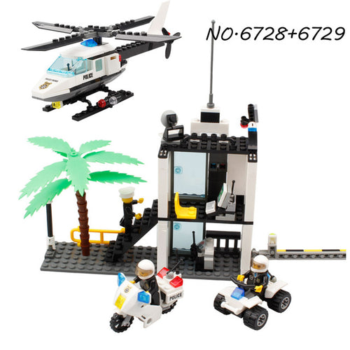 KAZI Police Station Trucks helicopter Building Blocks Set Compatible Legoe City DIY Construction Bricks Toys for children boys