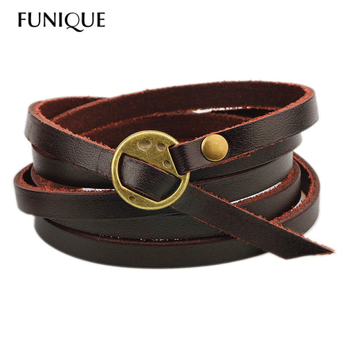 FUNIQUE Men's Muitilayer Thin Punk Black Brown Leather Bracelets Fashion Jewelry Wristband Cool Men Punk Rock Jewelry