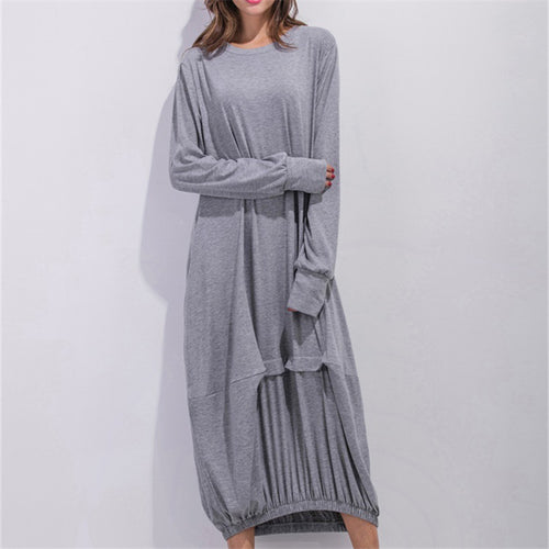 Spring 2017 Long Sleeve Long Casual Plus Size Women Dress Loose Vintage High Quality Fashion Harajuku Dress