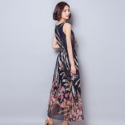New Boho Summer Women Maxi Dress Brand New Sleeveless High Waist Vestido O-Neck Floral Print Elegant Long Dress Plus Size M-XXL