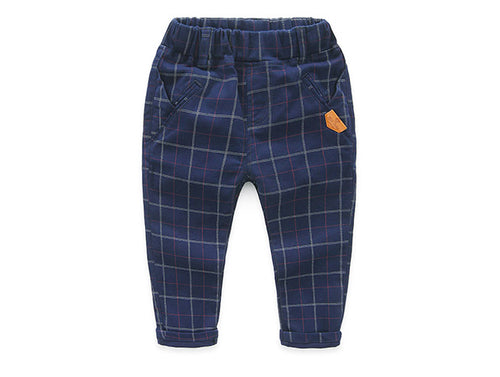 Boys Cotton Plaid Trousers