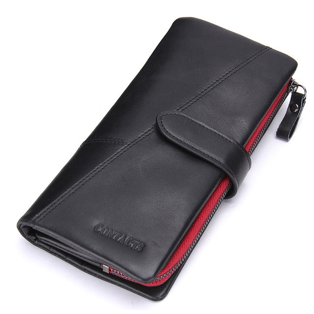 af95c49e54 Contact s Fashion Woman s Wallet Genuine Leather Women Long Clutch Wallets  Big Capacity Coin Purse Card Holder