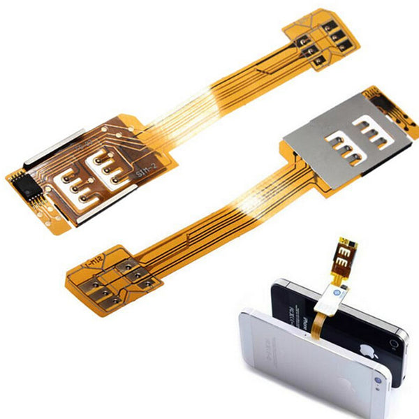 1PC Smartphone SIM Card Adapter For iPhone 5 5S 5C Portable Dual SIM Card Adapter Converer Single Standby Flex Cable Ribbon New