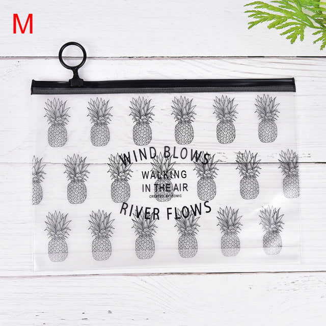 New Simple Leaves Transparent Pvc File Folder Document Filing Bag Cosmetic Stationery Bag Promotional Gift Stationery Office & School Supplies