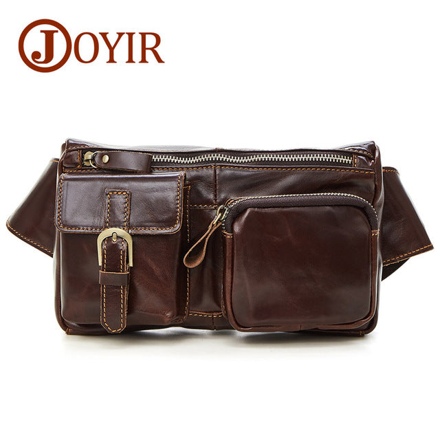 f1309f498bced Genuine Leather waist bag for men Fanny Pack Belt Bag Phone Pouch Bags  Travel Waist Pack
