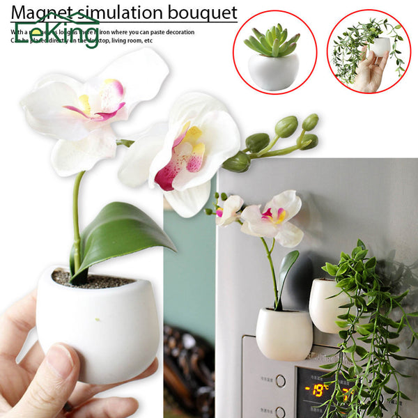 Mini Bonsai Artificial Flowers Succulent Plants With Magnetic Pot Fake Soil Phalaenopsis For Home Garden Decoration