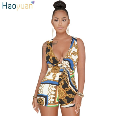 831cab040c48 HAOYUAN Plus Size Sexy Playsuit One Piece Summer Overalls Casual Bodysuit  Deep-V Neck Bodycon