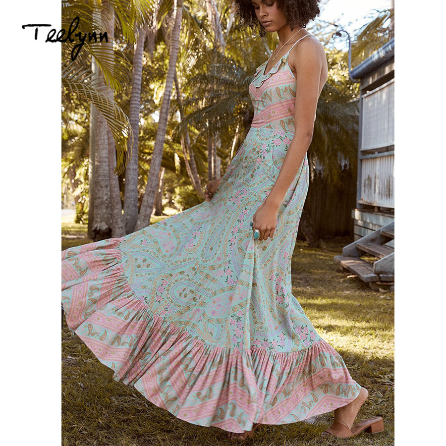 aad68179a165 TEELYNN long Boho dress 2018 floral print sexy sleeveless strap summer  dresses backless beach wear hippie ...