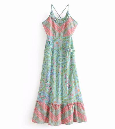 a8879b1ec1ac TEELYNN long Boho dress 2018 floral print sexy sleeveless strap summer  dresses backless beach wear hippie