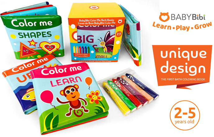 NEW innovative Colour Me Bath Books + Crayons: Learn & Color in the Bath