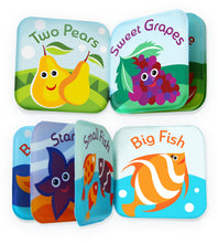 Floating Kids Books for Bathtub (Set of 2) by Baby Bibi: Fruits & Sea Animals