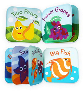 BabyBibi Floating Baby Bath Books. Set of 4: Fruit, Ocean, ABC, Numbers Books