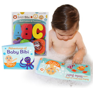 Bath Toys Set: Stick-On Foam Letters & Numbers + Floating Kids Book