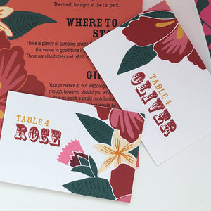 Floral Fiesta Table Place Card