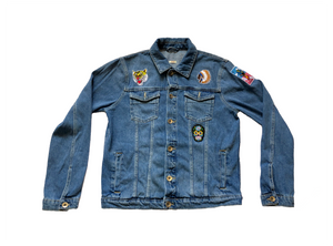 100% Cotton Non-Stretch Denim Point collar; button front; side hem adjusters Long sleeves.