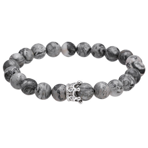 Silver Mens Stone Crown Bracelet