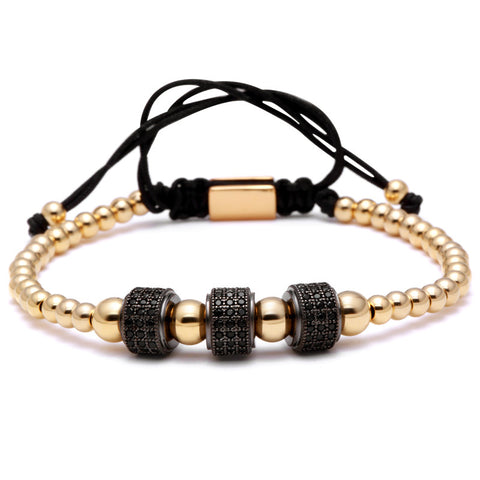 Mens Triple Beaded Bracelet