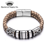Brown Braided 316L Stainless Steel Genuine Leather Bracelets