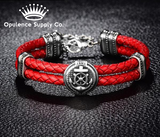 Rudder & Anchor 316L Stainless Steel Double Leather Bracelet