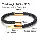 Weave Genuine Leather Nail Bracelet