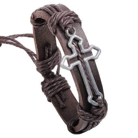 Vintage Cross Leather Rope Bracelet