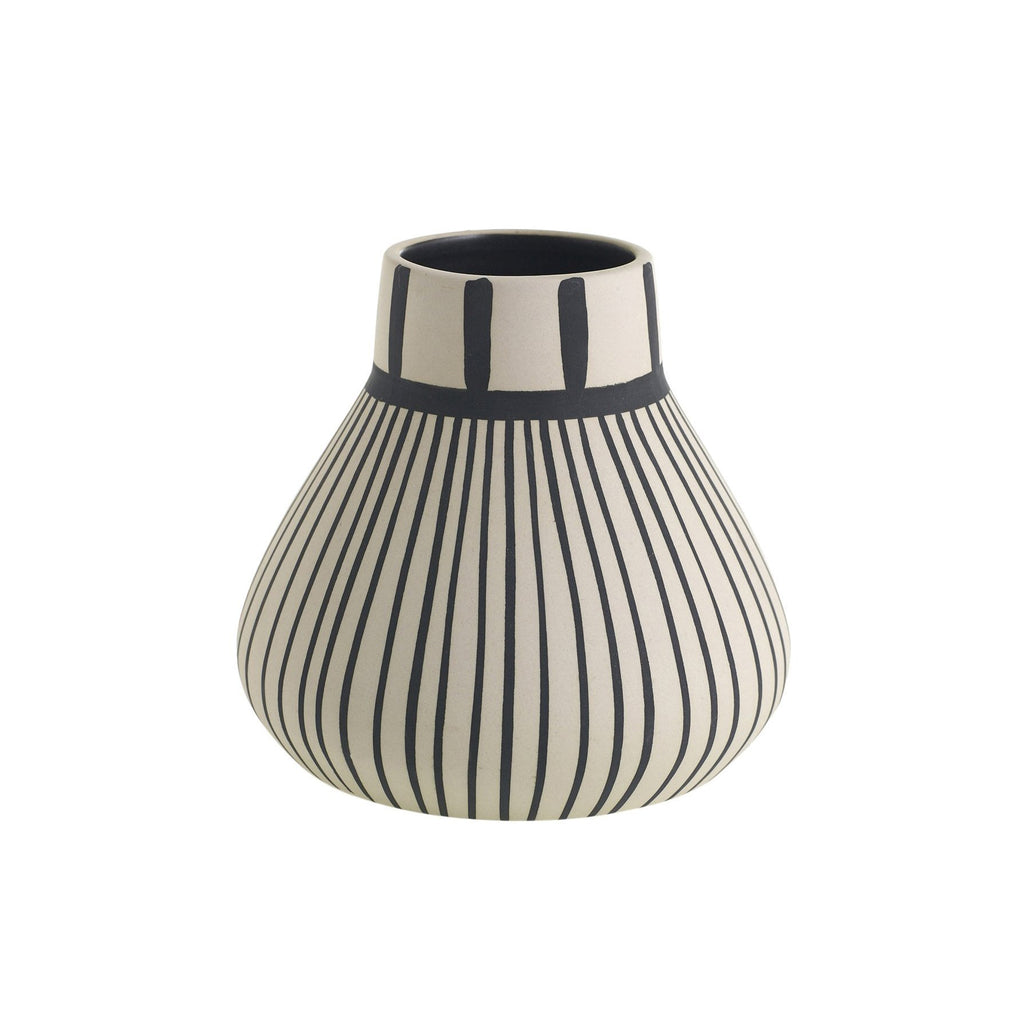 Frankel Small Stripes Vase - Black Rooster Maison
