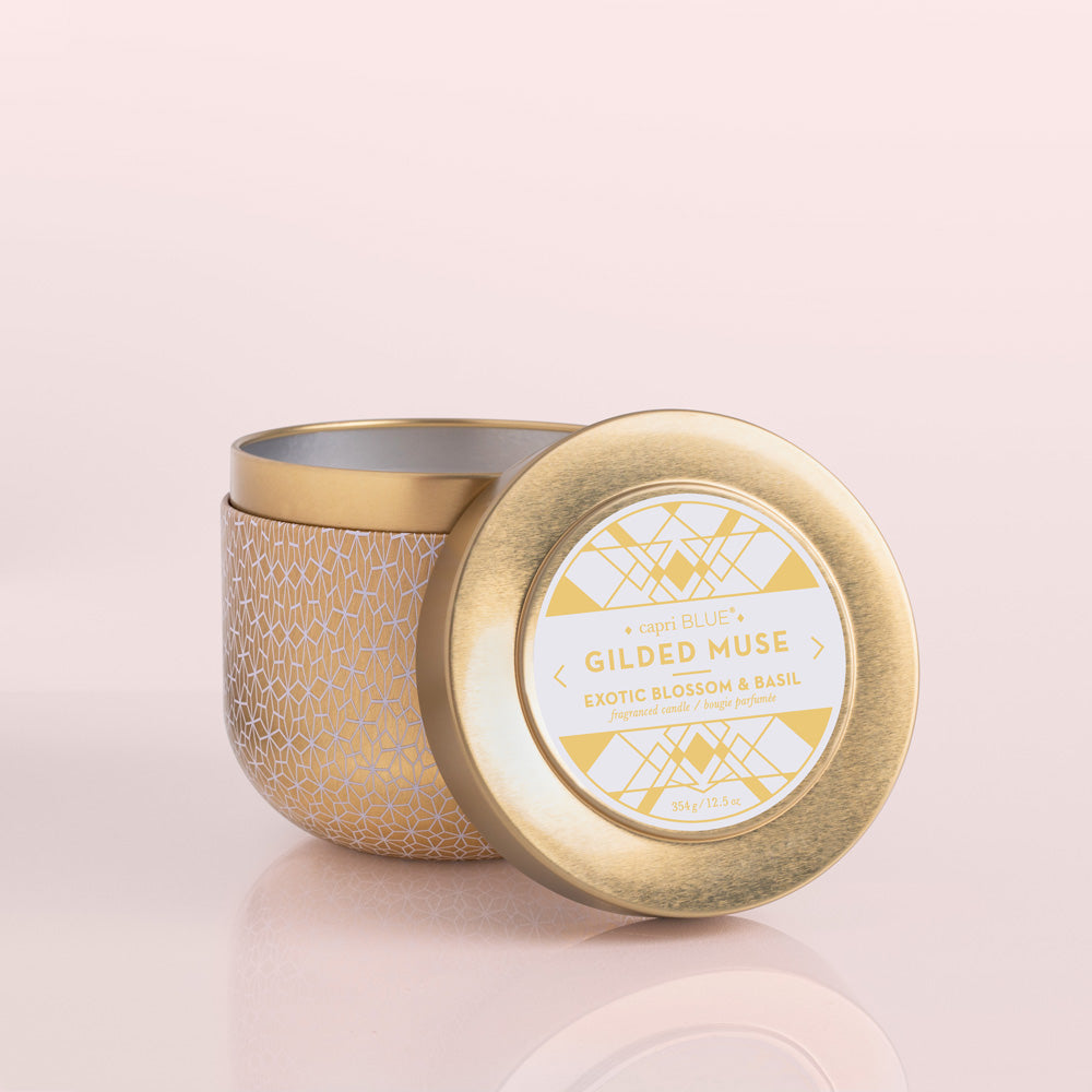 Exotic Blossom and Basil Gilded Tin Candle