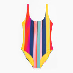 & Other Stories Striped Scoop Back Swimsuit in Multi Stripe