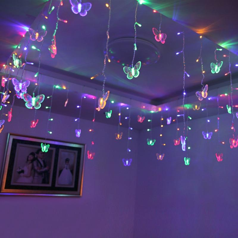 multicolor butterfly string lights