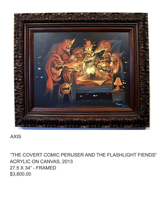 The covert comic peruser and the flashlight friends