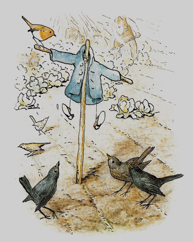 [The Tale of Peter Rabbit - 1903 - Scarecrow and Blackbirds - ©Beatrix Potter]