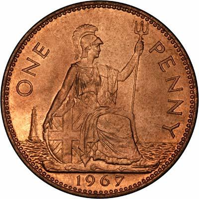 1967 - 1d - One Penny - Circulated - Stamped - TGBCH - COA