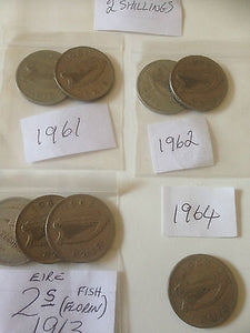 Southern Ireland 2 Shilling Coins Eire Hibernia 2s