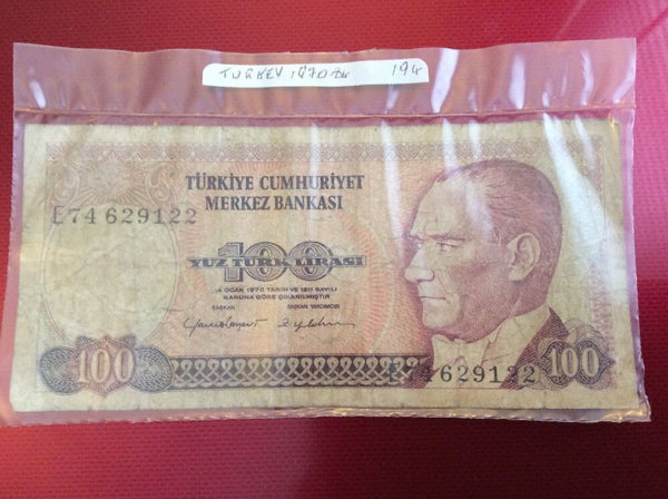 Turkey 100 Turkish Lira Banknote Date 1970 Serial Number E74 629122