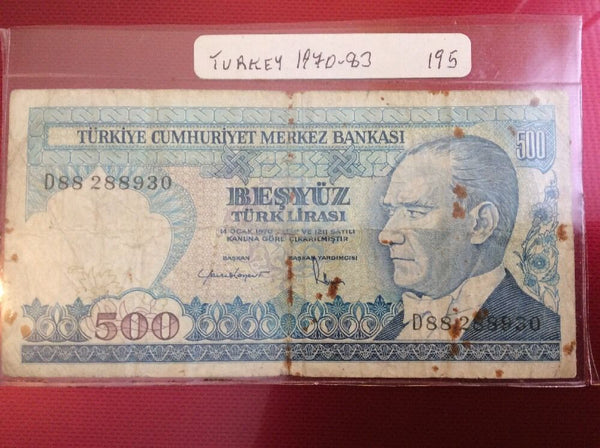 Turkey 500 Turkish Lira Banknote Date 1970 Serial Number D88 288930 Initial D