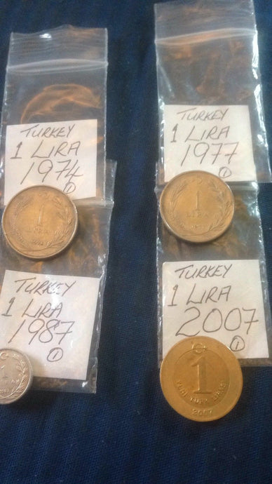 Turkish 1 One Lira Coins Turkey Europe