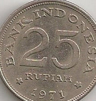 Indonesia 25 Twenty Five  Rupiah Coins Asia Asian